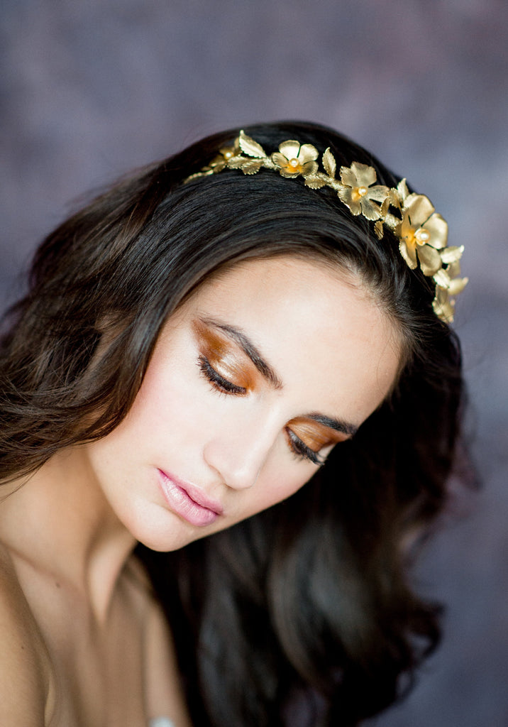 Golden Brass Floral Bridal Crown - Handmade in Toronto Canada - Blair Nadeau Bridal Adornments - Whitney Heard Photography