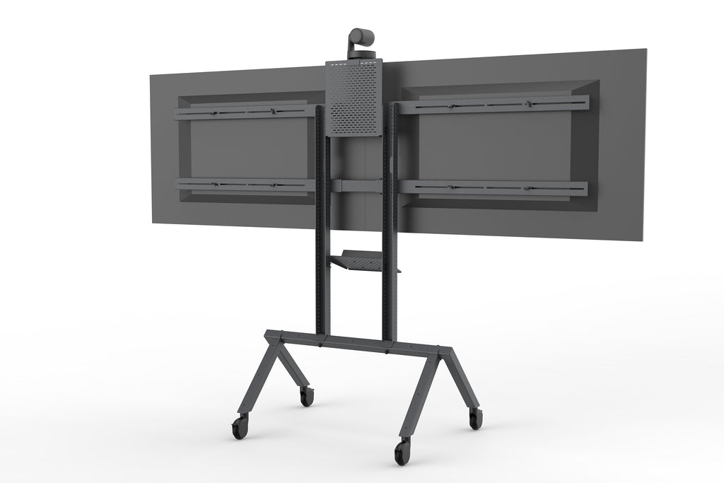Heckler AV Cart Black Grey | Space Efficient Video Conferencing Gear