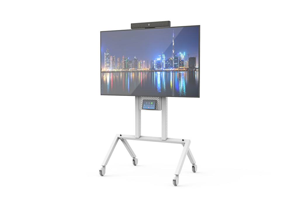 Heckler AV Cart Grey White | Modern and Sleek AV Cart