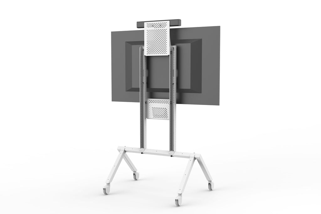 Heckler AV Cart Grey White | Thin Profile AV Cart