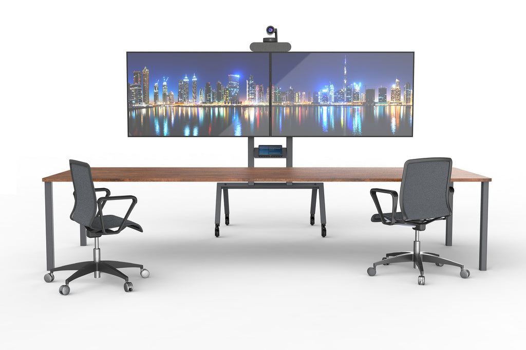 Dual Display Kit for Heckler AV Cart - Black Grey | Video Conferencing