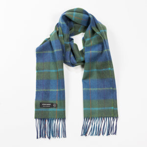 100% Merino Scarf (Denim Green Check) - MIMI+MARTHA