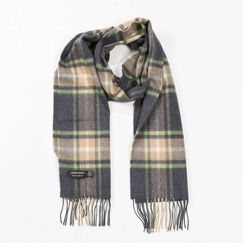 100% Merino Wool Scarf - Grey, Beige & Light Green Check