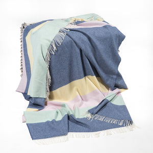 100% Merino Lambswool Throw (Blue, Yellow, Pink & Green) - MIMI+MARTHA