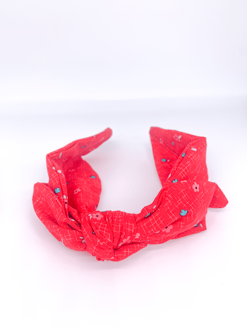 Retro Stiff Headband - Red with tiny blue and pink flowers - MIMI+MARTHA