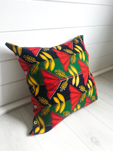 Yellow, Red & Green Pattern Cushion