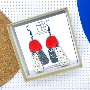 Aoife Red And Charcoal Earrings