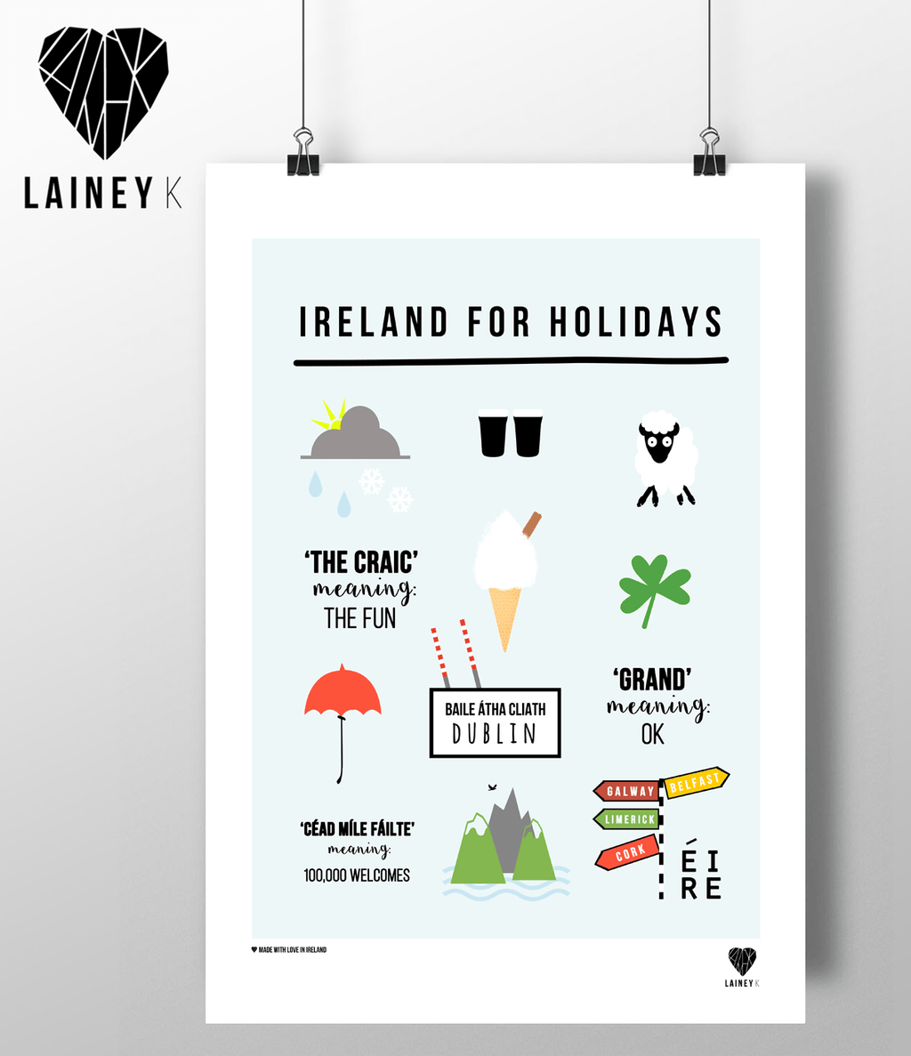 (A4 Print) Ireland For Holidays - MIMI+MARTHA