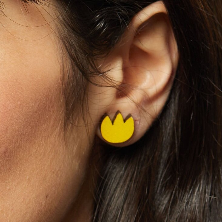 Tulip Stud Earrings - Yellow