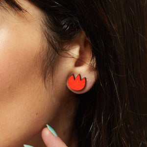 Tulip Stud Earrings - Red