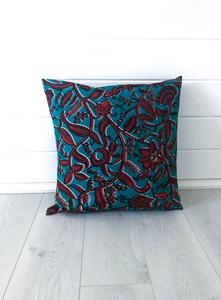 Turquoise & Coral Pattern Cushion