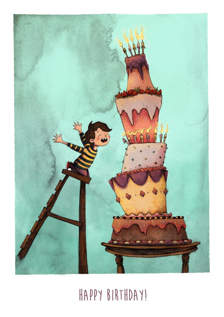 Gigantic Birthday Cake- (Birthday Greeting Card)