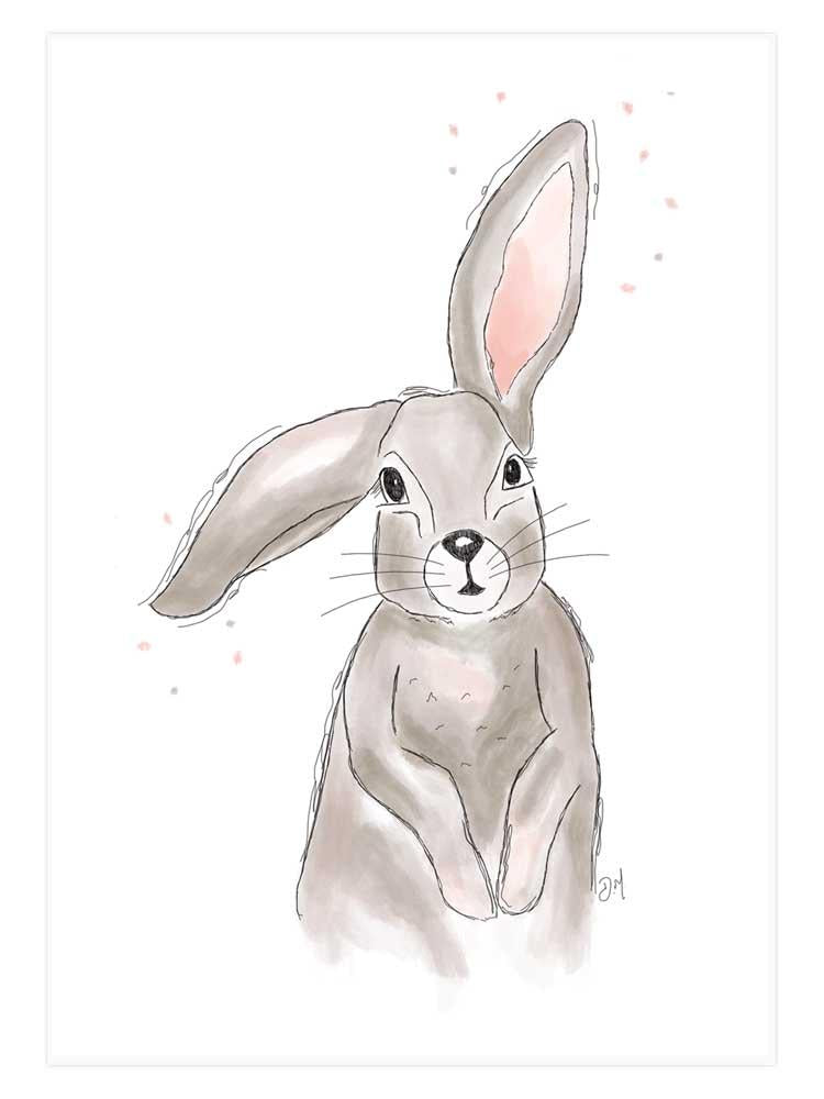 Mounted Art Print -Connie The Rabbit - A4