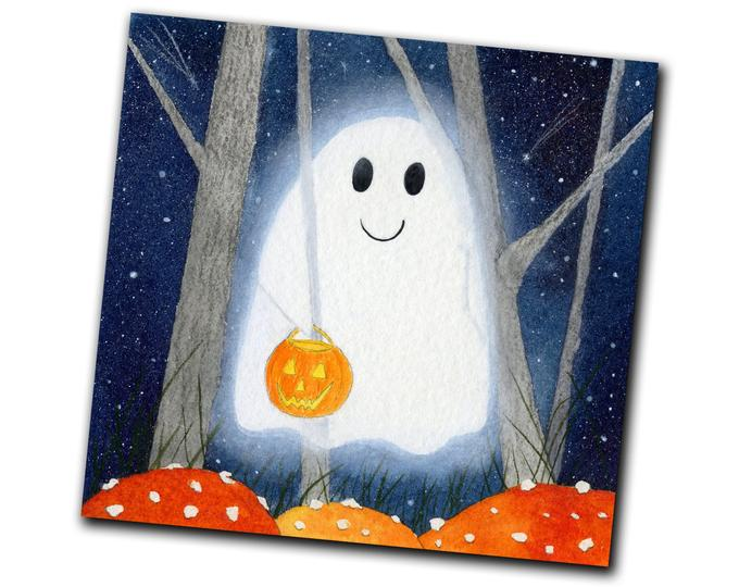 Halloween Greeting Card - Smiling Ghost