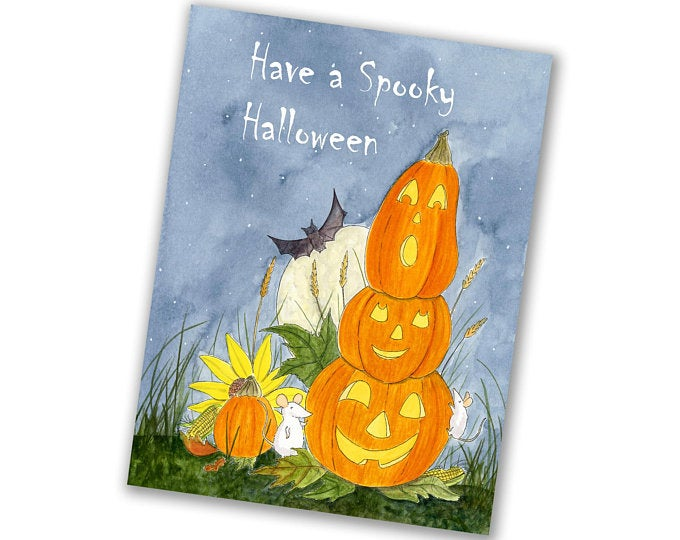 Halloween Greeting Card - Stack Of Pumpkins