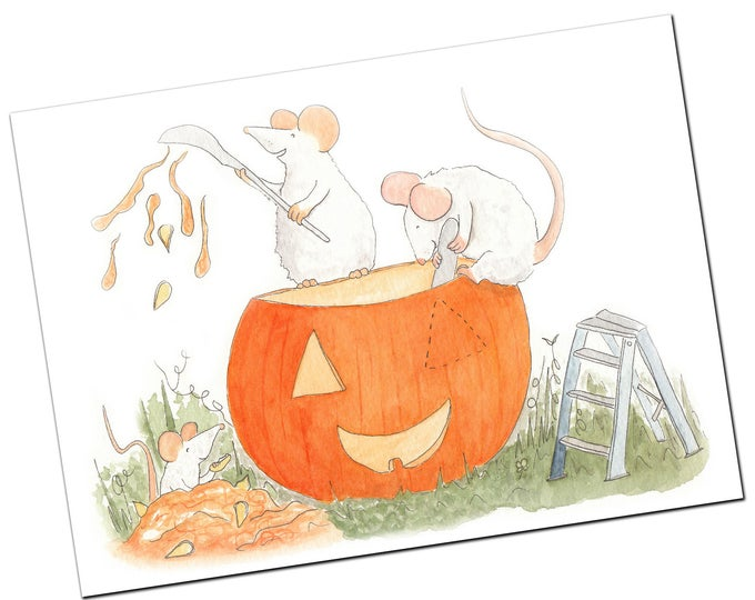 Halloween Greeting Card - Carving The Jack O' Lantern