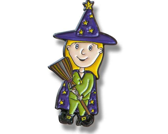 Enamel Halloween Pin - Witch And Broom