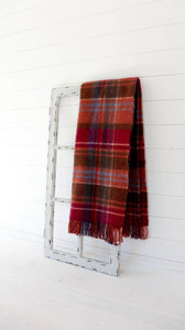 100% Pure Wool Throw (Raspberry, Purple, Green & Orange Plaid)