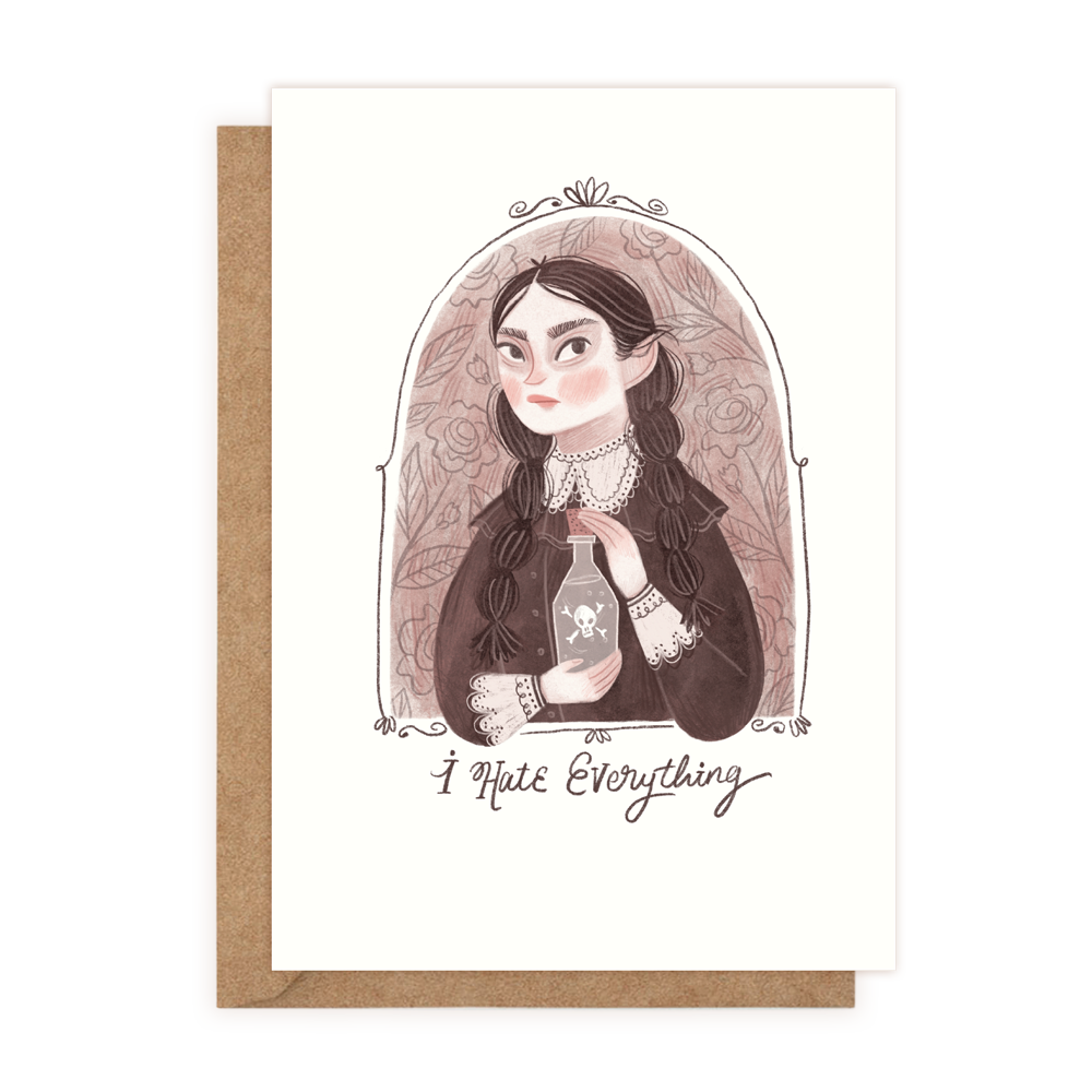 I Hate Everything - Wednesday Adams (Greeting Card)