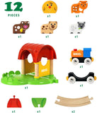 Enjoy free fast shipping on ethically made, custom handcrafted toys & baby shower gifts at Redtailtoys.com like our 12 Piece Wooden Railway Train Farm Set.  Shop quality Montessori, educational, learning, Waldorf, building, creative, free-play, imaginative play, safe, eco-friendly, imported and USA-handmade wooden toys.