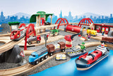 Enjoy free fast shipping on ethically made, custom handcrafted toys & baby shower gifts at Redtailtoys.com like our Wooden Toy Deluxe Railway Train Set for Kids Age 3 and Up in Green.  Shop quality Montessori, educational, learning, Waldorf, building, creative, free-play, imaginative play, safe, eco-friendly, imported and USA-handmade wooden toys.