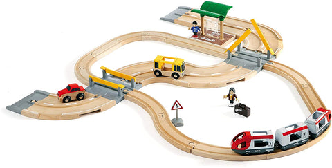 Enjoy free fast shipping on ethically made, custom handcrafted toys & baby shower gifts at Redtailtoys.com like our Rail & Road Travel Set - 33 Piece Train Toy with Accessories.  Shop quality Montessori, educational, learning, Waldorf, building, creative, free-play, imaginative play, safe, eco-friendly, imported and USA-handmade wooden toys.
