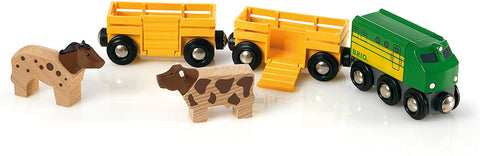Enjoy free fast shipping on ethically made, custom handcrafted toys & baby shower gifts at Redtailtoys.com like our Farm Train - 5 Piece Wooden Toy Train Set.  Shop quality Montessori, educational, learning, Waldorf, building, creative, free-play, imaginative play, safe, eco-friendly, imported and USA-handmade wooden toys.