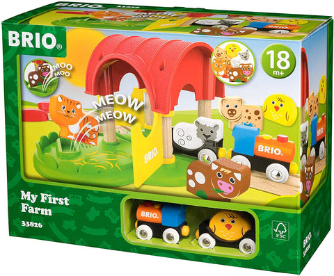 12 Piece Wooden Railway Train Farm Set