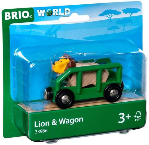 World Safari Lion & Wagon Kids Toy