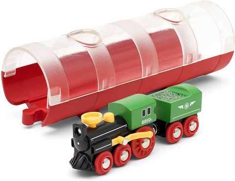 Steam Train & Tunnel - 3 Piece Wooden Toy Train Set