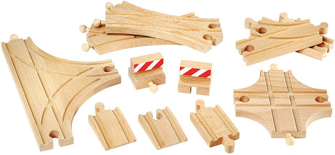 Enjoy free fast shipping on ethically made, custom handcrafted toys & baby shower gifts at Redtailtoys.com like our Advanced Expansion Pack - 11 Piece Set of Wooden Train Tracks.  Shop quality Montessori, educational, learning, Waldorf, building, creative, free-play, imaginative play, safe, eco-friendly, imported and USA-handmade wooden toys.