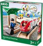 Rail & Road Travel Set - 33 Piece Train Toy with Accessories