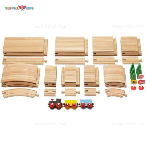 Enjoy free fast shipping on ethically made, custom handcrafted toys & baby shower gifts at Redtailtoys.com like our Billie 101 PC Ultimate Hardwood Expansion Track Set.  Shop quality Montessori, educational, learning, Waldorf, building, creative, free-play, imaginative play, safe, eco-friendly, imported and USA-handmade wooden toys.