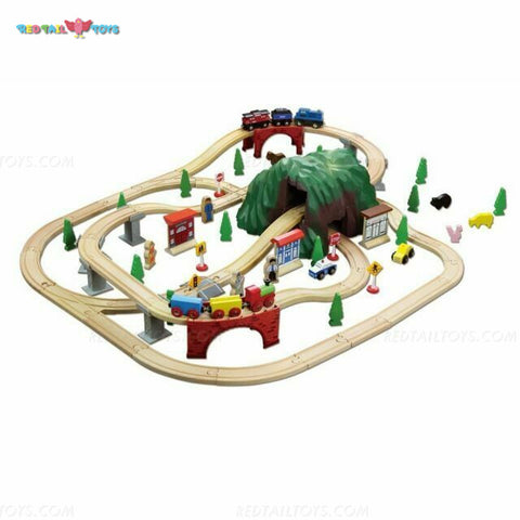 Enjoy fast, free nationwide shipping!  Owned by a husband and wife team of high-school music teachers, Redtailtoys.com is your one stop shop for quality toys & gifts like our Billie 100 Piece Mountain Hardwood Train Set.