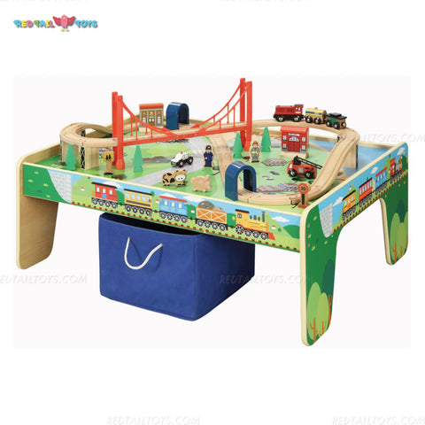 Enjoy free nationwide shipping on eco-friendly, sustainably USA sourced toys & games at Redtailtoys.com like our Billie 50 pc Hardwood Train Set w/ Play Table.  Shop play, educational, STEM, Montessori, Waldorf, wooden, sustainable, learning, action, girl, boy, stuffed, puzzle, toddler, baby, infant, cars, outdoors, indoors, building, creative, balance bikes, musical instruments, and more.