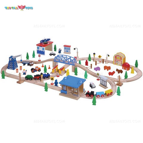 Enjoy free fast shipping on ethically made, custom handcrafted toys & baby shower gifts at Redtailtoys.com like our Billie 100 Piece Hardwood Train & Accessories Set.  Shop quality Montessori, educational, learning, Waldorf, building, creative, free-play, imaginative play, safe, eco-friendly, imported and USA-handmade wooden toys.