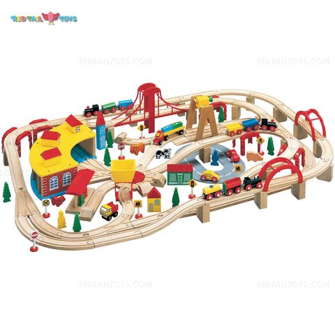 Enjoy free fast shipping on ethically made, custom handcrafted toys & baby shower gifts at Redtailtoys.com like our Billie 145 Piece Hardwood Train Set.  Shop quality Montessori, educational, learning, Waldorf, building, creative, free-play, imaginative play, safe, eco-friendly, imported and USA-handmade wooden toys.