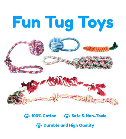 Enjoy fast, free nationwide shipping!  Owned by a husband and wife team of high-school music teachers, Redtailtoys.com is your one stop shop for quality toys & gifts like our 18 Piece Dog Toy Set w/ Dog Chew Toys, Rope Toys for Dogs.