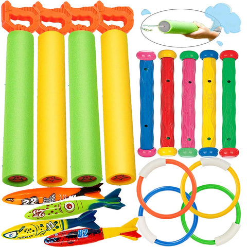 Enjoy fast, free nationwide shipping!  Owned by a husband and wife team of high-school music teachers, Redtailtoys.com is your one stop shop for quality toys & gifts like our 17 Pack Dive Pool Toys Blaster Torpedo Dive Rings and Diving Sticks Pool Dive Toy Set.