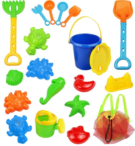 18Piece Beach Sand Toy Set, Bucket, Shovels, Rakes, Watering Can, Molds