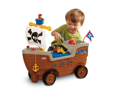 2-in-1 Pirate Ship Ride-On Toy and Playset