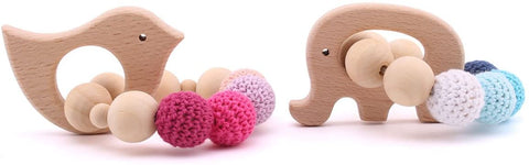 Enjoy fast, free nationwide shipping!  Owned by a husband and wife team of high-school music teachers, Redtailtoys.com is your one stop shop for quality toys & gifts like our 2pc Baby Wooden Teethers Organic Elephant Bird Shaped Teething Toy.