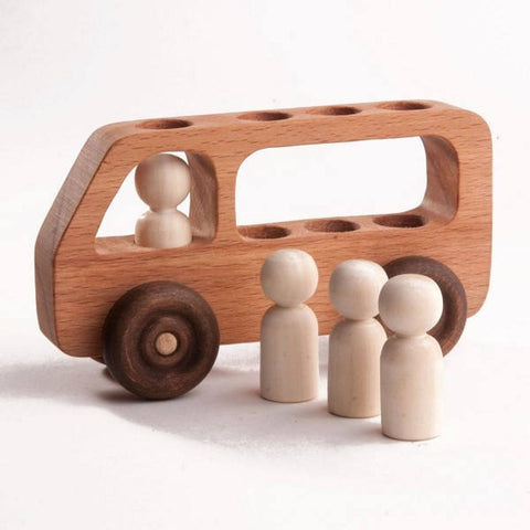 Handmade Wooden Push Bus Toy w/ Montessori People
