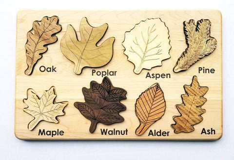 Handmade-in-USA Montessori Leaf w/ Respective Woods Board Puzzle