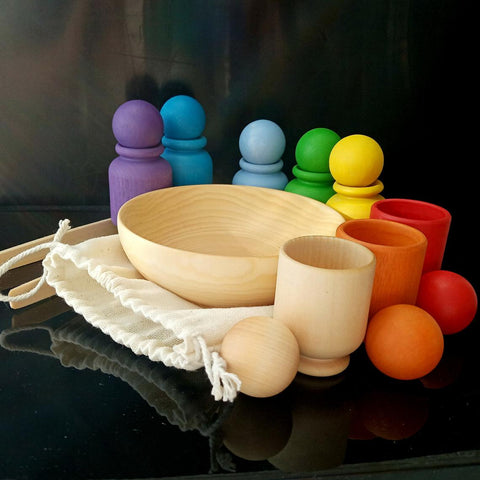 Montessori Handmade Sorting Toy Rainbow Cups, Balls, & Pincer