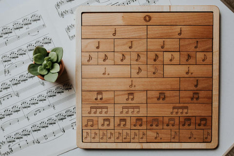 Handmade-in-USA Hardwood Music Notes & Rests Bar Rhythm Trees (double sided)
