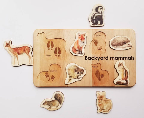 Handmade-in-USA Montessori Backyard Mammals Board Puzzle