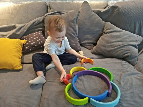 Handmade Large Wooden Rainbow Stacker Toy
