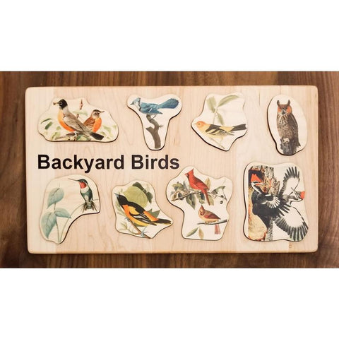 Handmade-in-USA Montessori Backyard Birds Board Puzzle