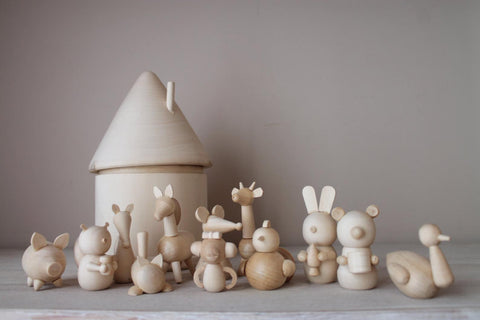 Hand-Carved Heirloom-Quality Montessori Baby Animals & House